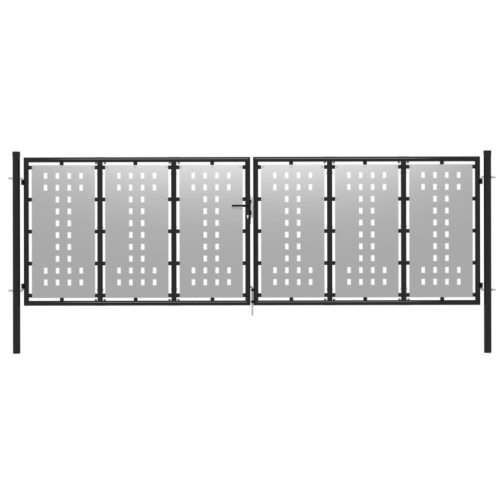 vidaXL Poartă de grădină, argintiu, 400 x 75 cm, oțel vidaxl.ro