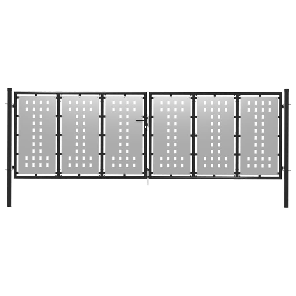 vidaXL Poartă de grădină, argintiu, 400 x 125 cm, oțel poza vidaxl.ro