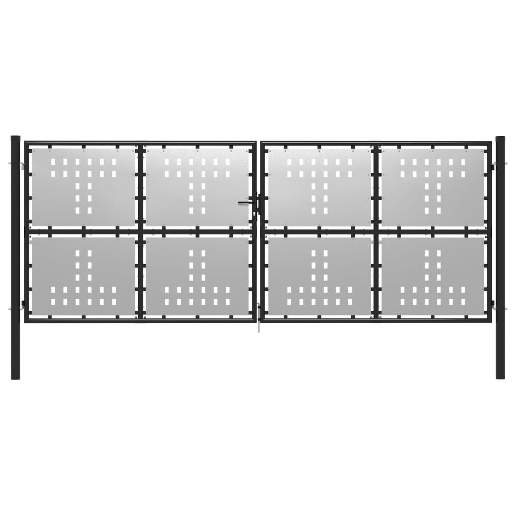 vidaXL Poartă de grădină, argintiu, 400 x 150 cm, oțel vidaxl.ro
