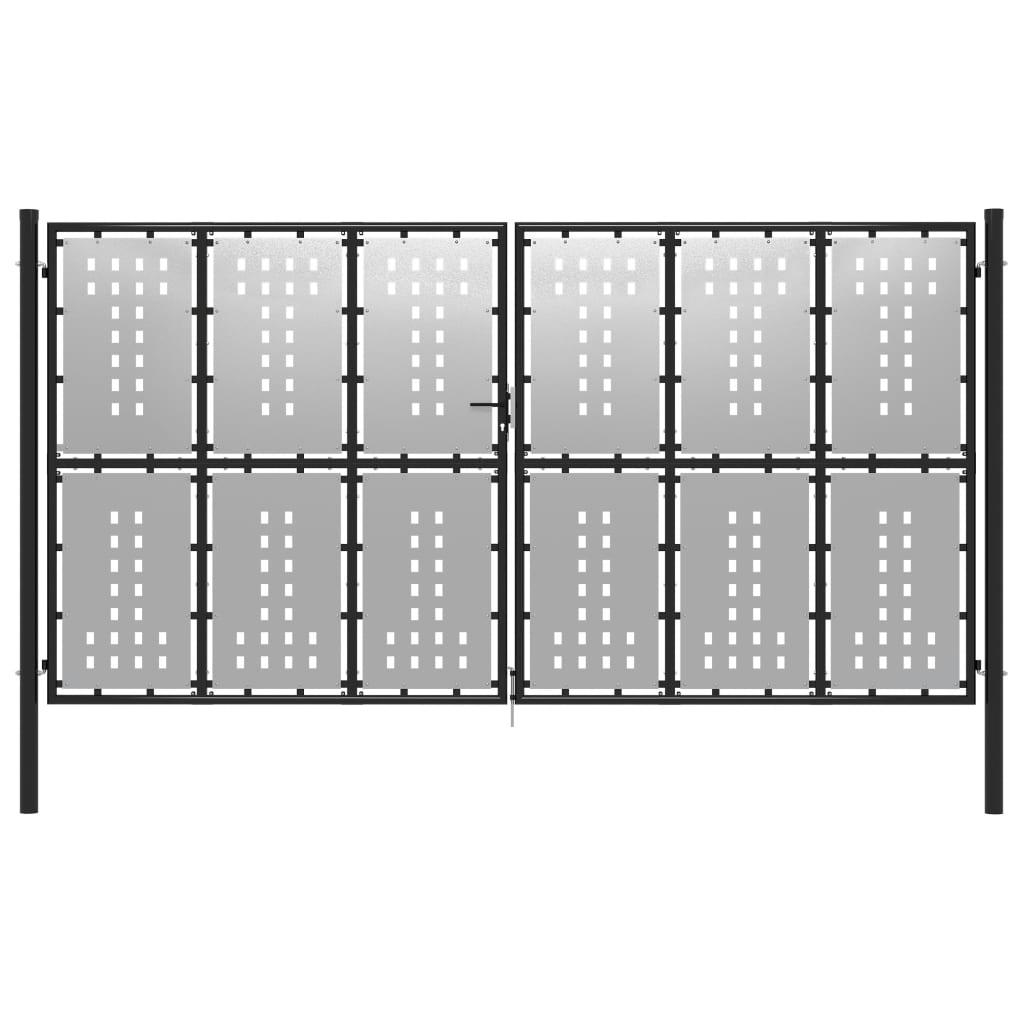 vidaXL Poartă de grădină, argintiu, 400 x 175 cm, oțel poza vidaxl.ro