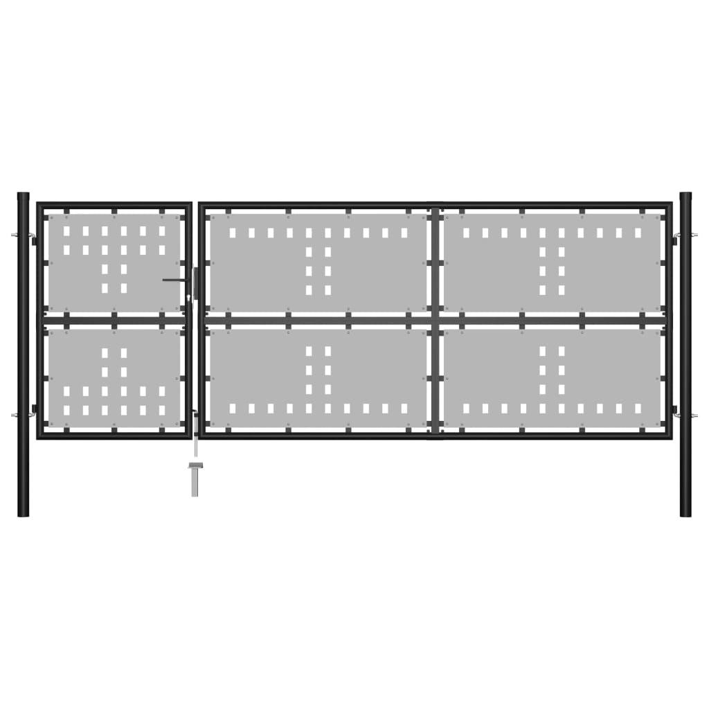 vidaXL Poartă de grădină, negru, 350 x 125 cm, oțel poza vidaxl.ro