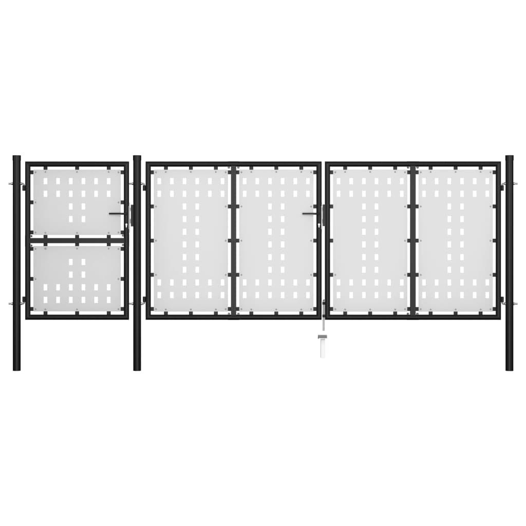 vidaXL Poartă de grădină, negru, 400 x 125 cm, oțel vidaxl.ro