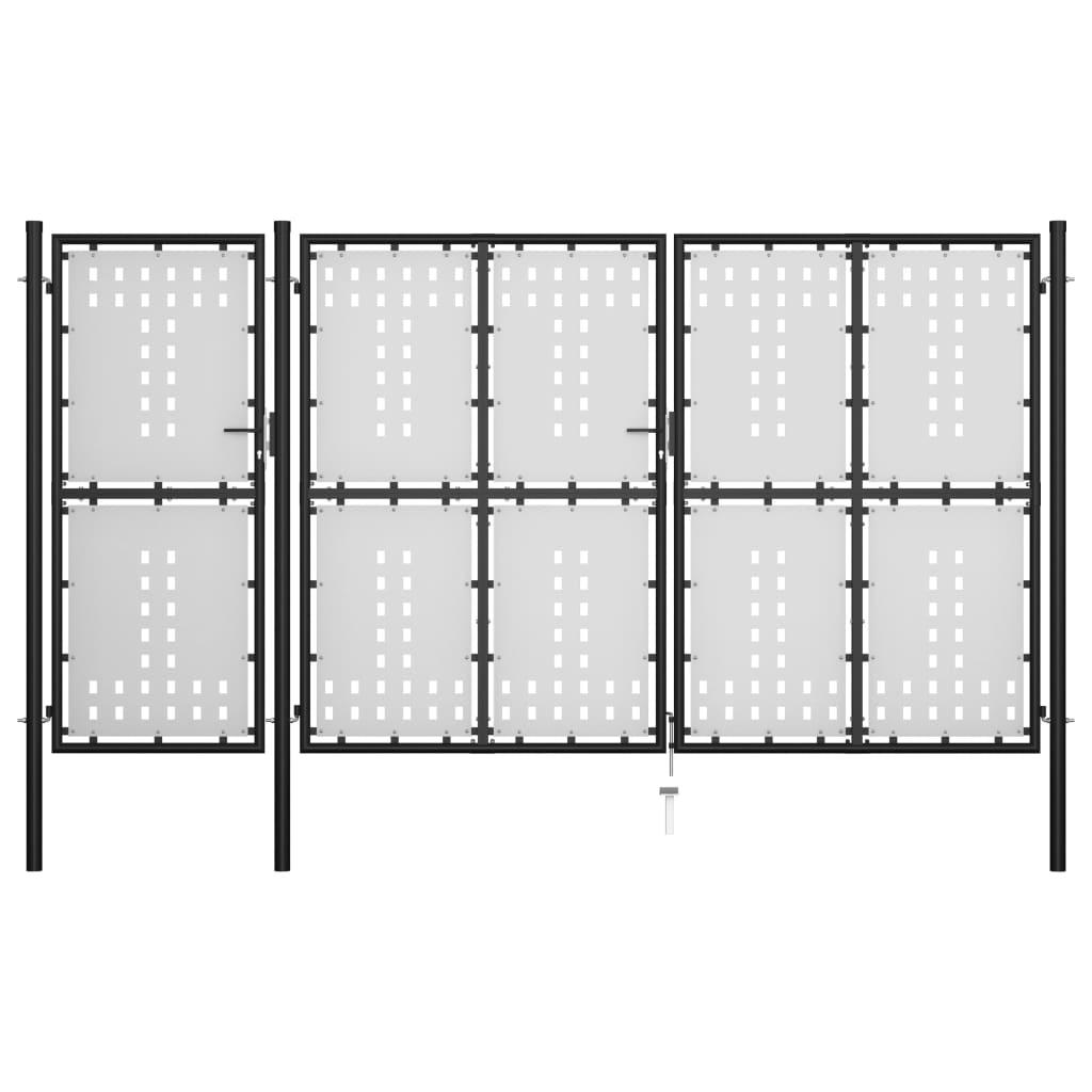 vidaXL Poartă de grădină, negru, 400 x 175 cm, oțel imagine vidaxl.ro