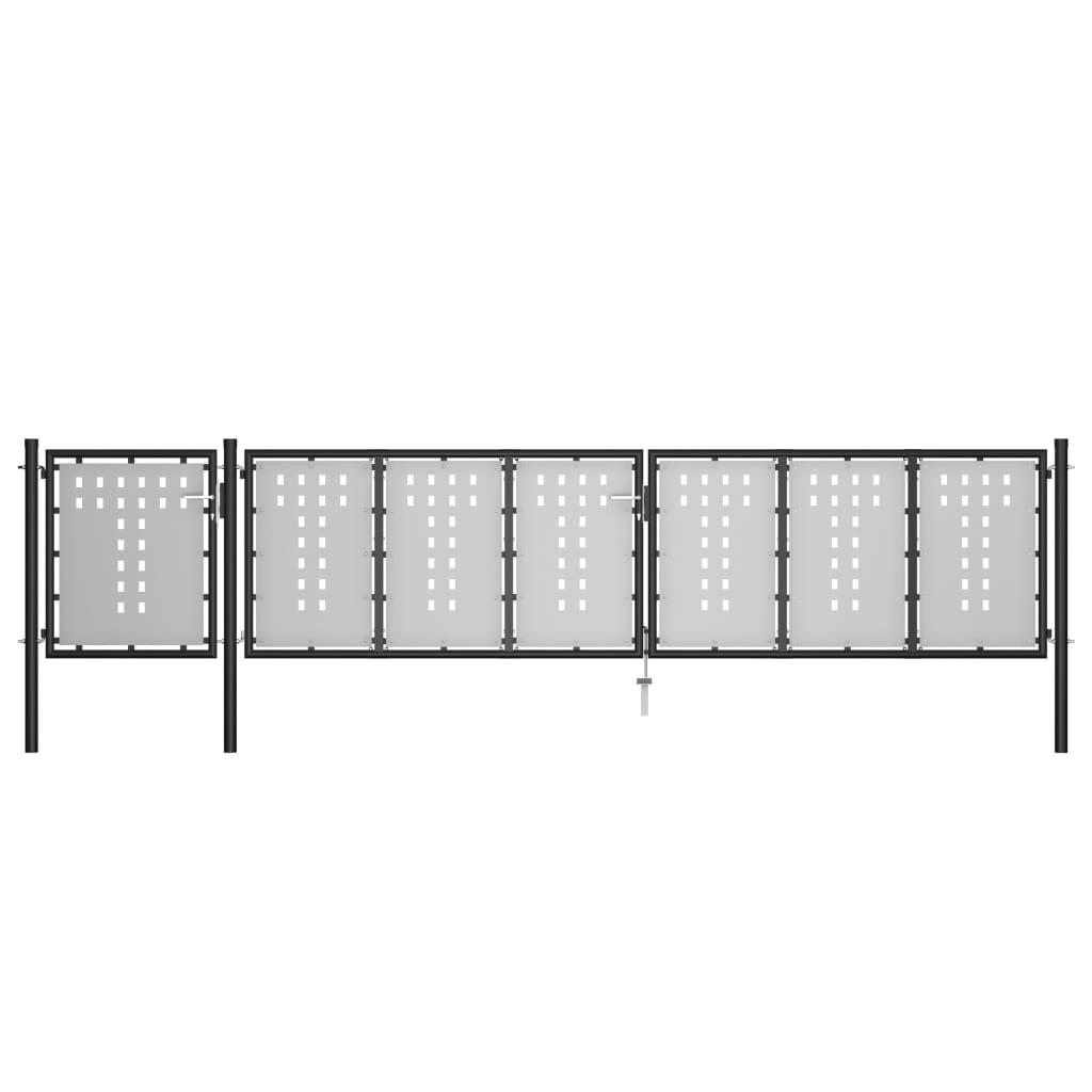 vidaXL Poartă de grădină, negru, 500 x 75 cm, oțel imagine vidaxl.ro