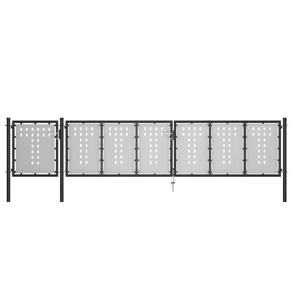Aiavärav, teras, 500 x 100 cm, must