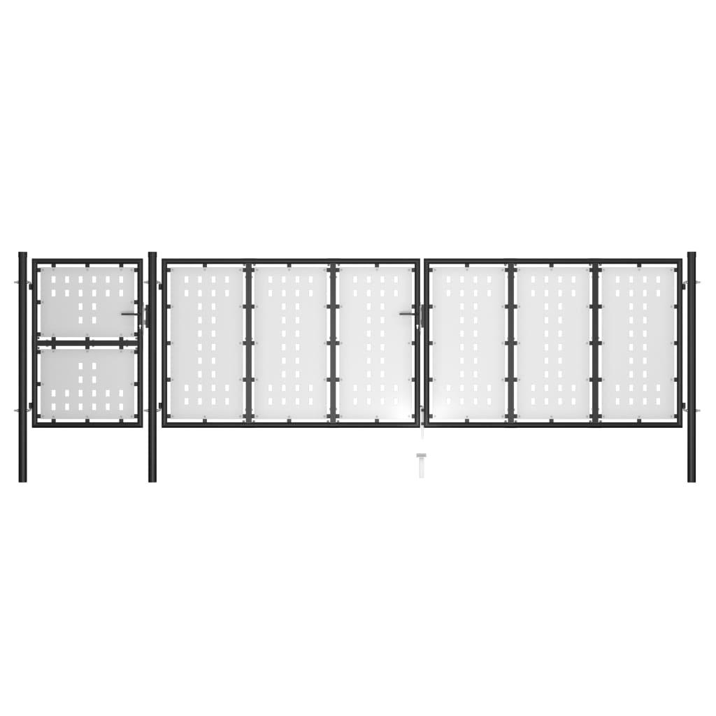 Aiavärav, teras, 500 x 125 cm, must