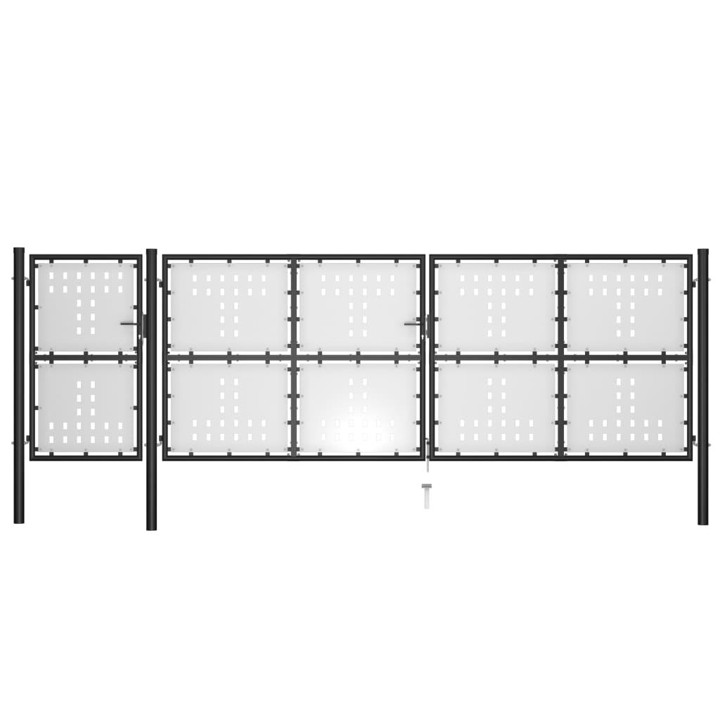 vidaXL Poartă de grădină, negru, 500 x 150 cm, oțel poza 2021 vidaXL