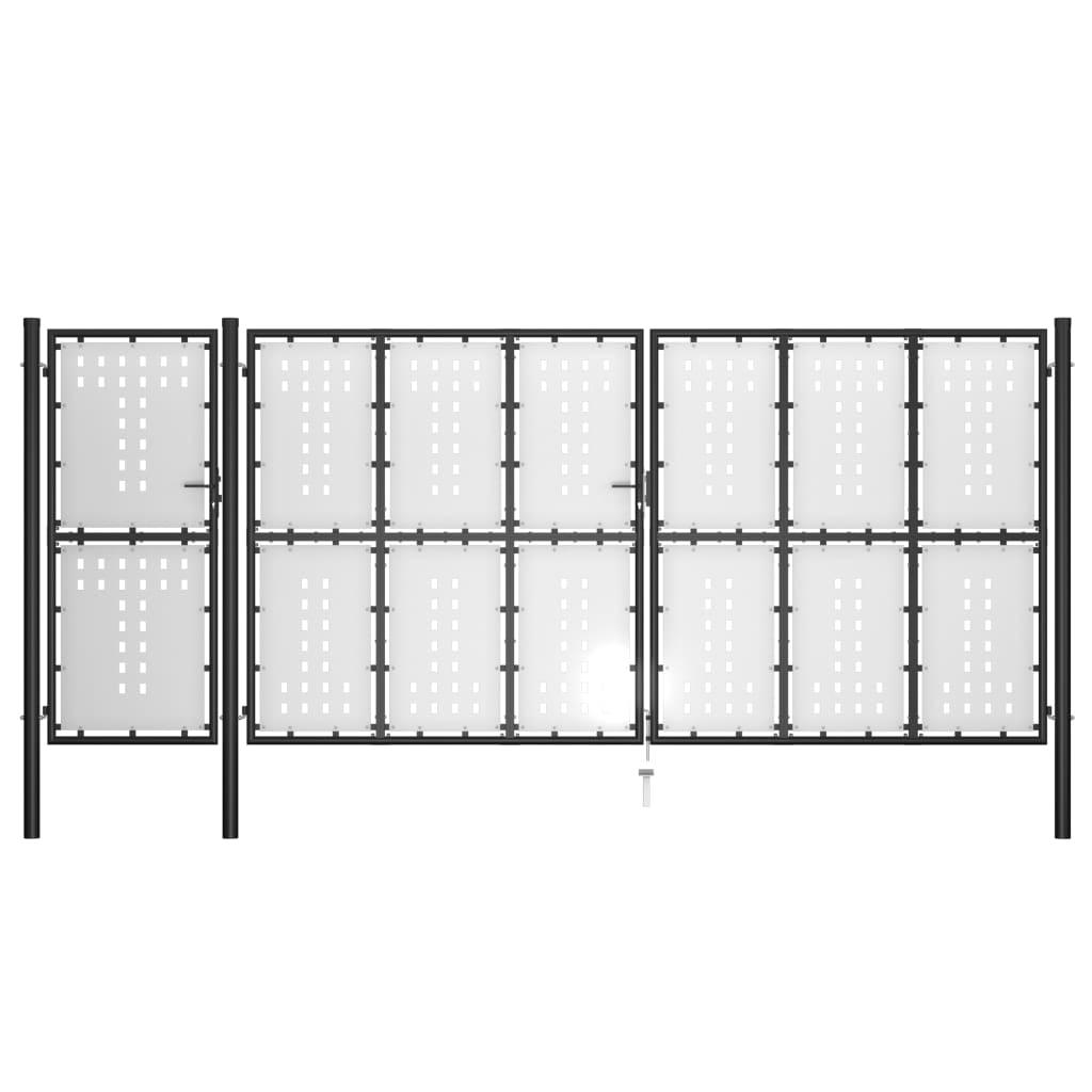 vidaXL Poartă de grădină, negru, 500 x 175 cm, oțel poza 2021 vidaXL