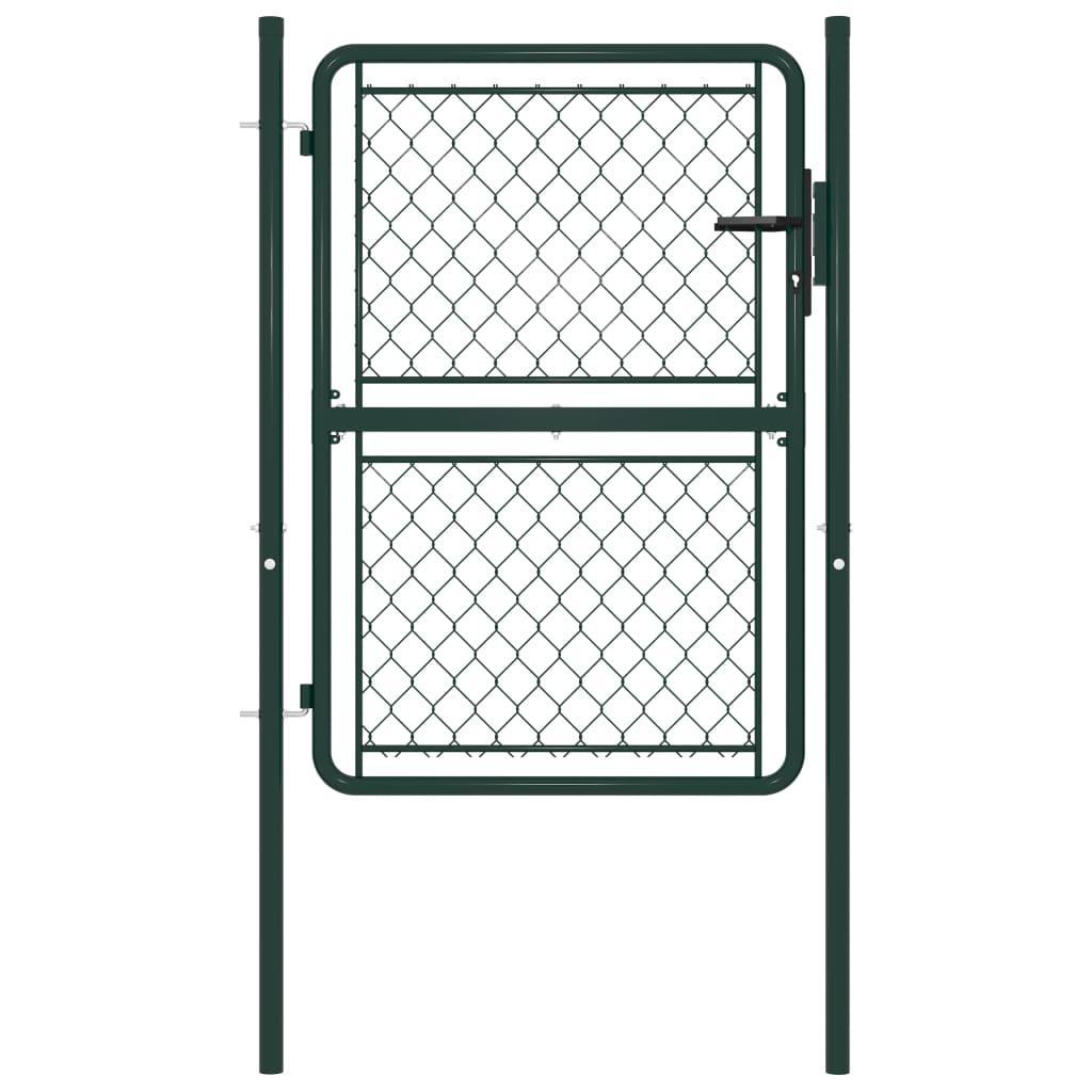 vidaXL Poartă de gard, verde, 100 x 125 cm, oțel poza 2021 vidaXL