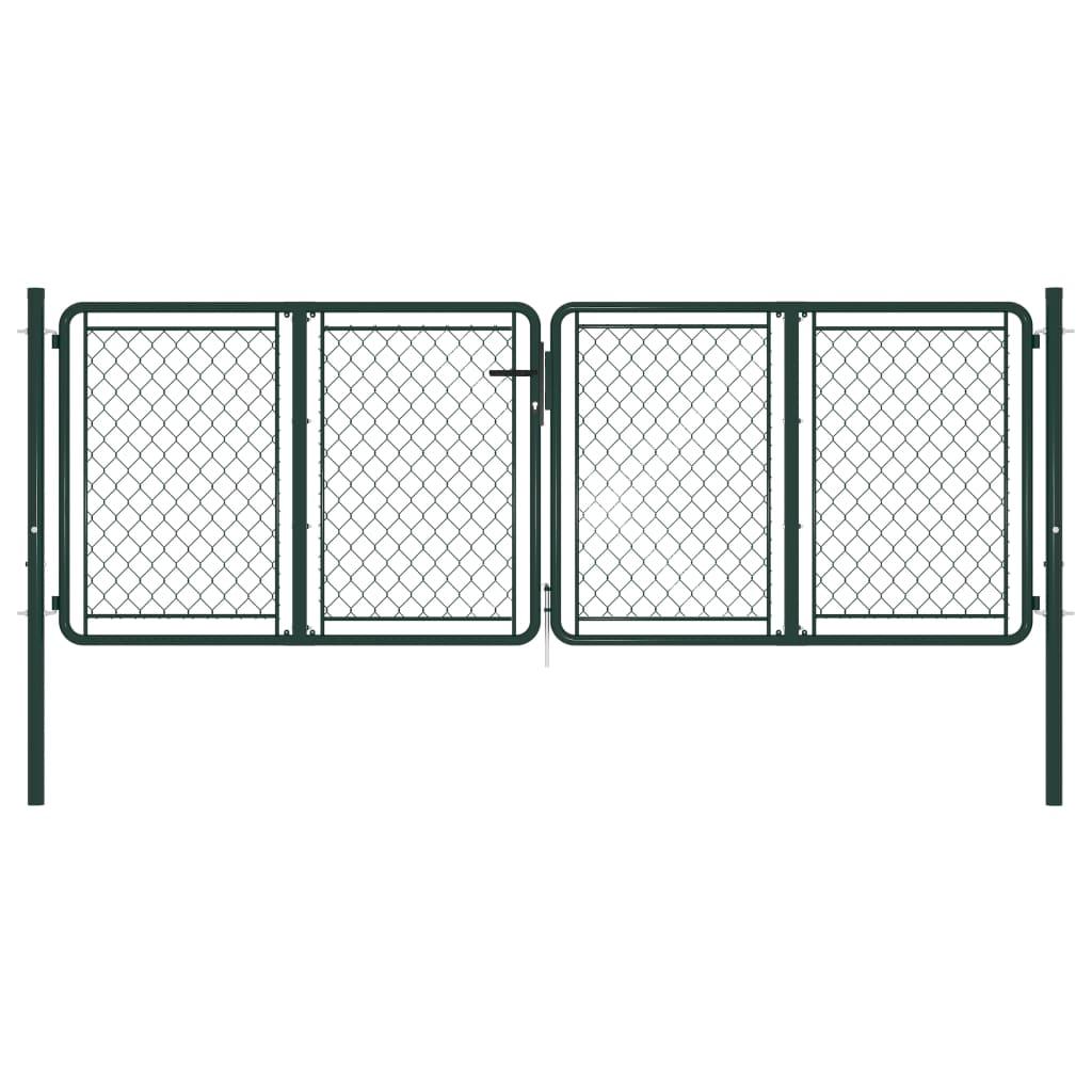 vidaXL Poartă de grădină, verde, 300 x 75 cm, oțel vidaxl.ro