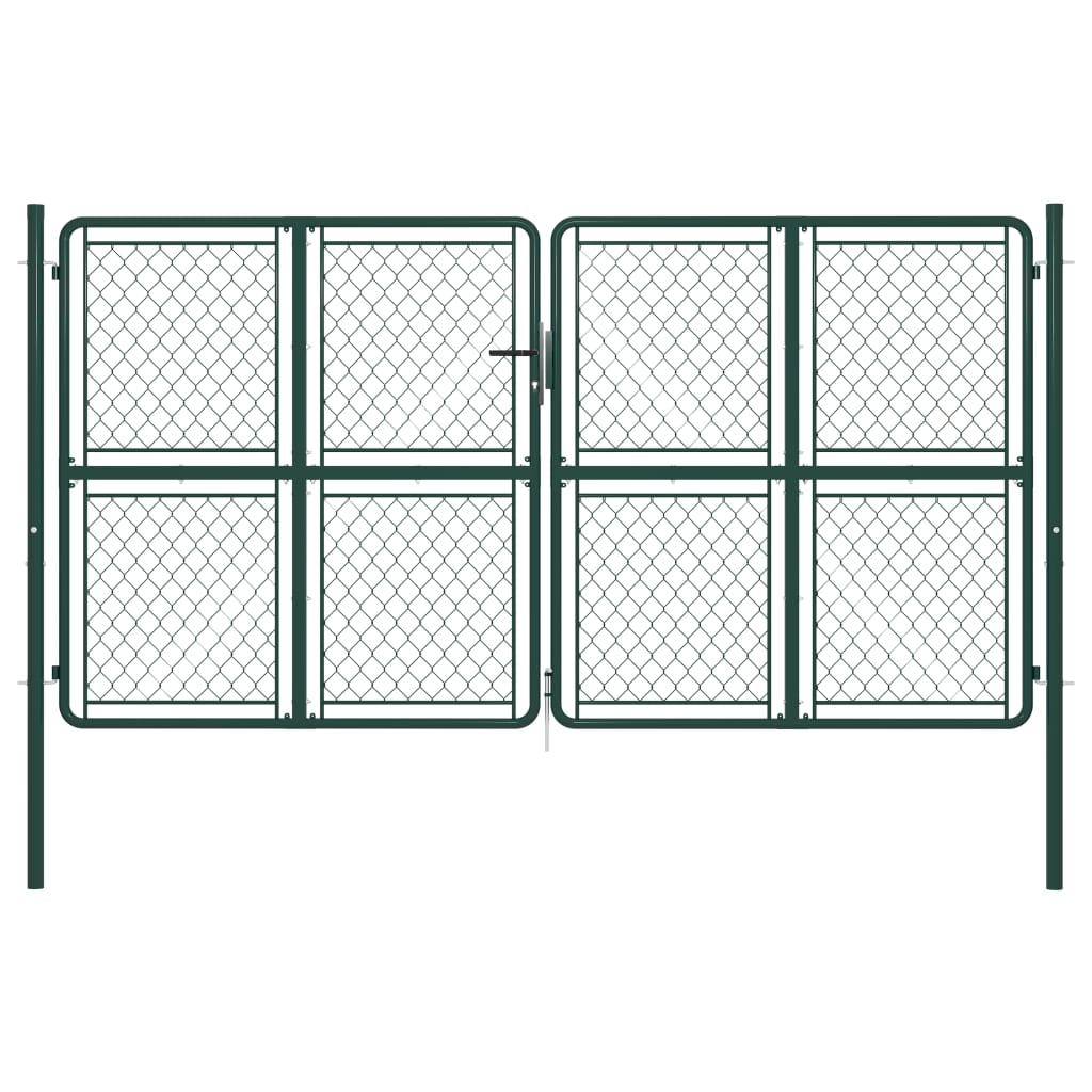 vidaXL Poartă de grădină, verde, 300 x 150 cm, oțel vidaxl.ro
