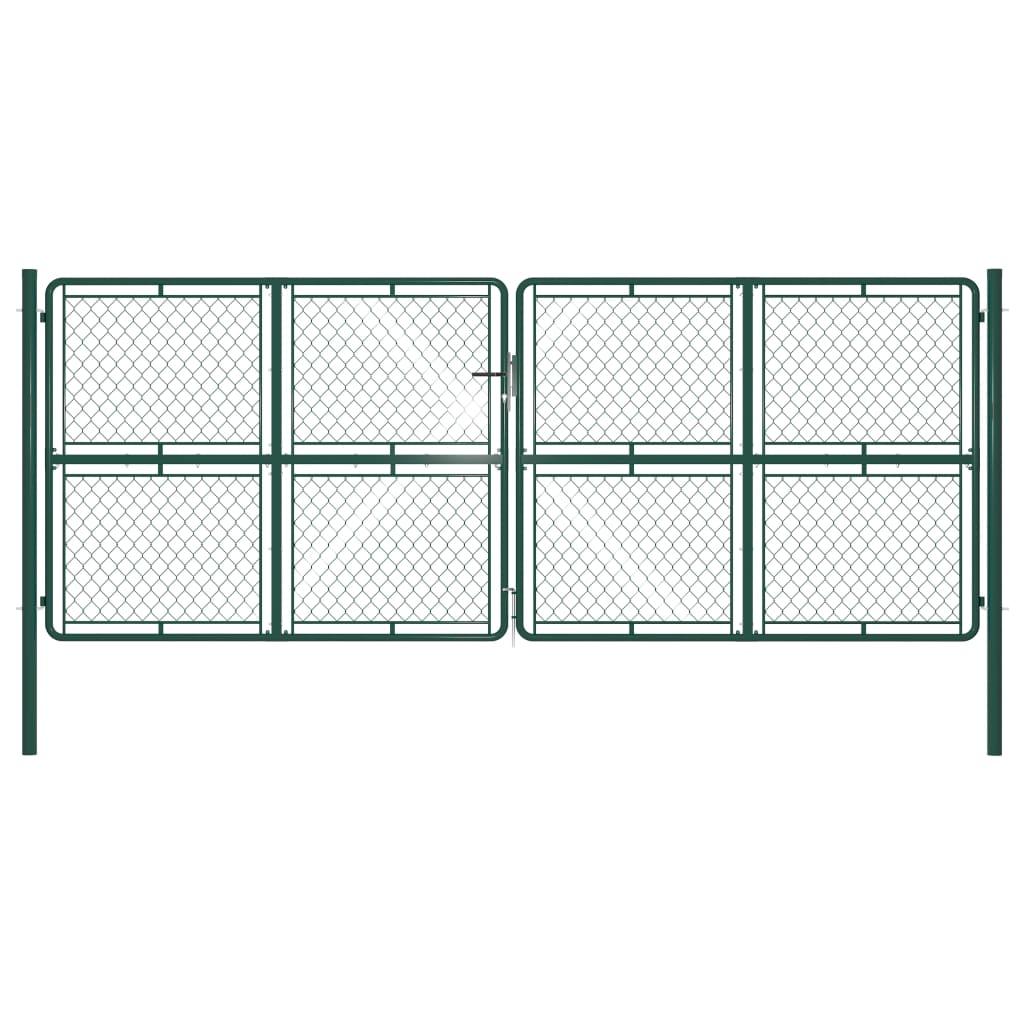 vidaXL Poartă de grădină, verde, 400 x 150 cm, oțel vidaxl.ro
