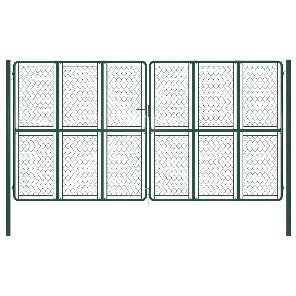 vidaXL Poartă de grădină, verde, 400 x 175 cm, oțel poza 2021 vidaXL