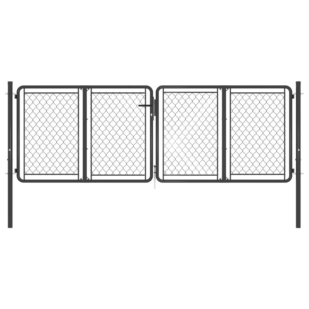 vidaXL Poartă de grădină, antracit, 300 x 75 cm, oțel poza 2021 vidaXL