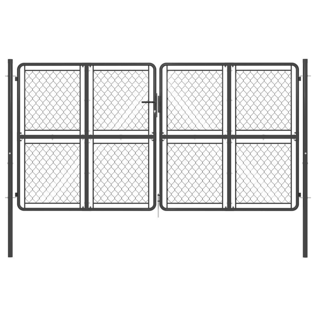 vidaXL Poartă de grădină, antracit, 300 x 175 cm, oțel imagine vidaxl.ro