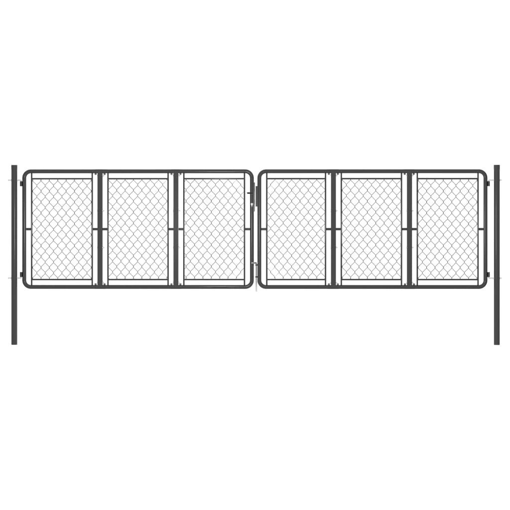 vidaXL Poartă de grădină, antracit, 400 x 100 cm, oțel poza 2021 vidaXL