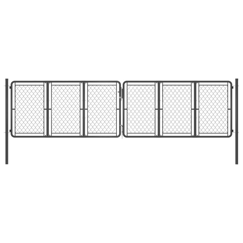 vidaXL Poartă de grădină, antracit, 400 x 125 cm, oțel vidaxl.ro