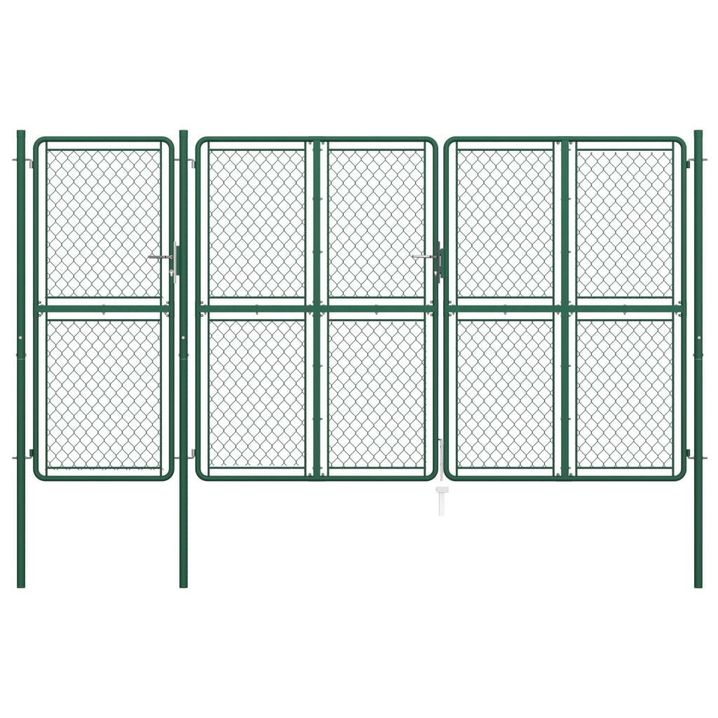 vidaXL Poartă de grădină, verde, 200 x 395 cm, oțel vidaxl.ro