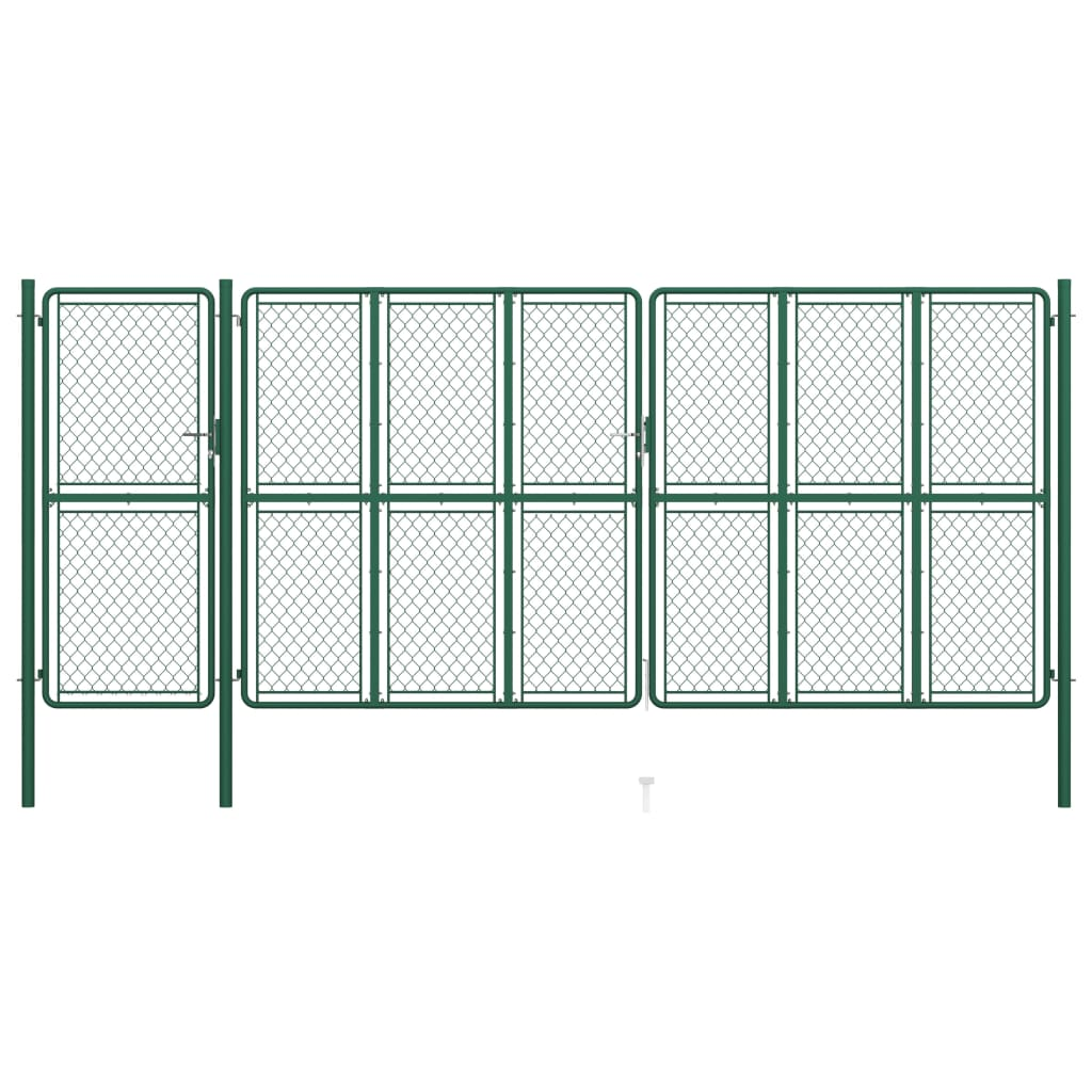 vidaXL Poartă de grădină, verde, 200 x 495 cm, oțel vidaxl.ro