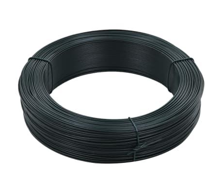vidaXL Fil de liaison de clôture 250 m 1,6/2,5 mm Acier Vert noirâtre