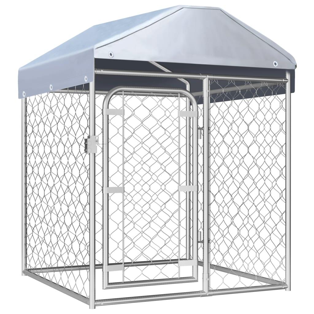 vidaXL Padoc pentru câini de exterior, cu acoperiș, 100 x 100 x 125 cm imagine vidaxl.ro