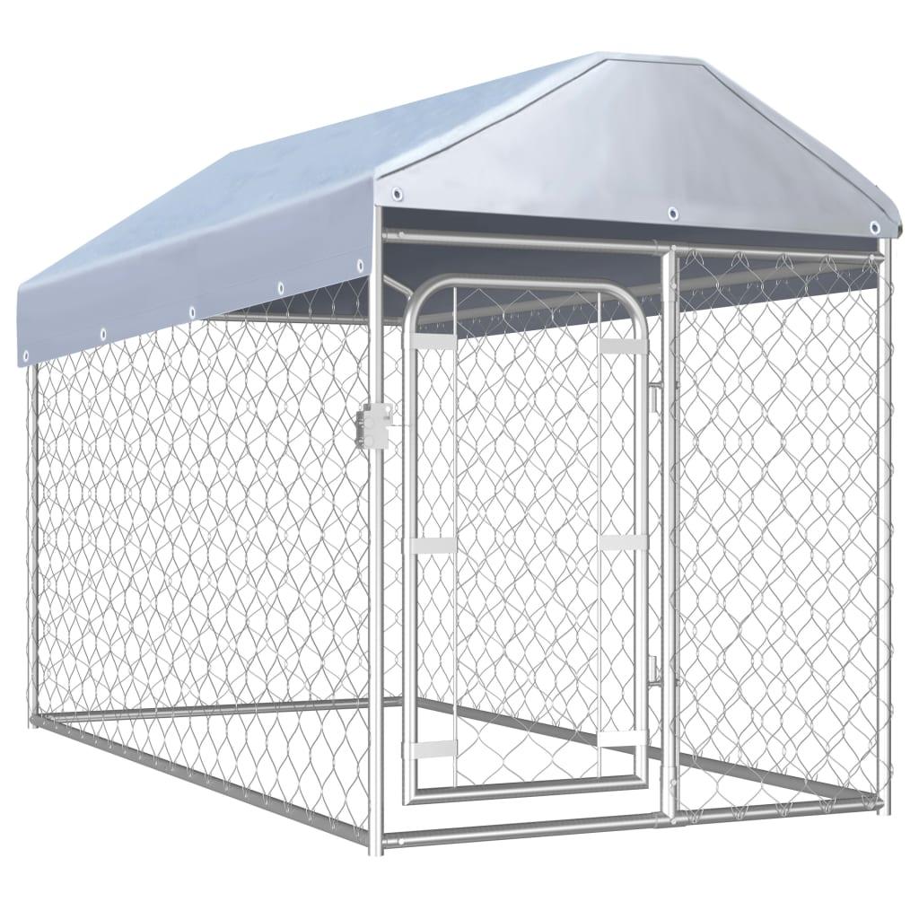 vidaXL Padoc pentru câini de exterior cu acoperiș, 200 x 100 x 125 cm imagine vidaxl.ro