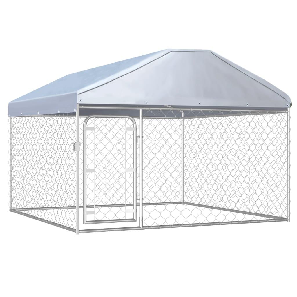 vidaXL Padoc de câini de exterior cu acoperiș, 200 x 200 x 135 cm poza vidaxl.ro