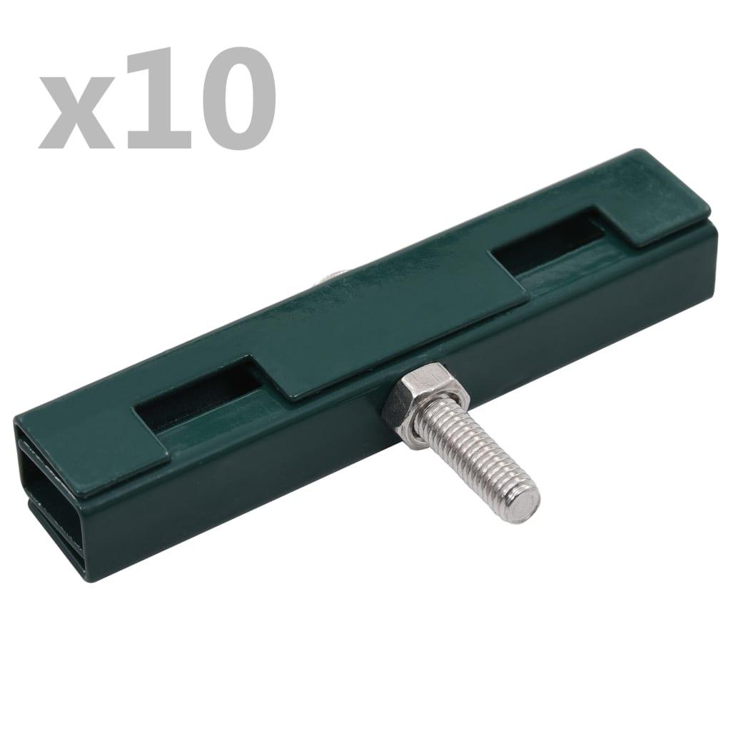vidaXL Conector în formă de U grilaj grădină, 10 seturi, verde poza vidaxl.ro