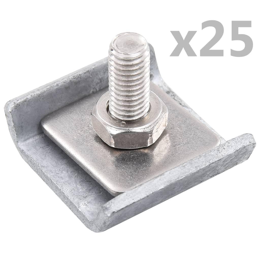 vidaXL Conector grilaj din plasă, argintiu, 25 seturi imagine vidaxl.ro