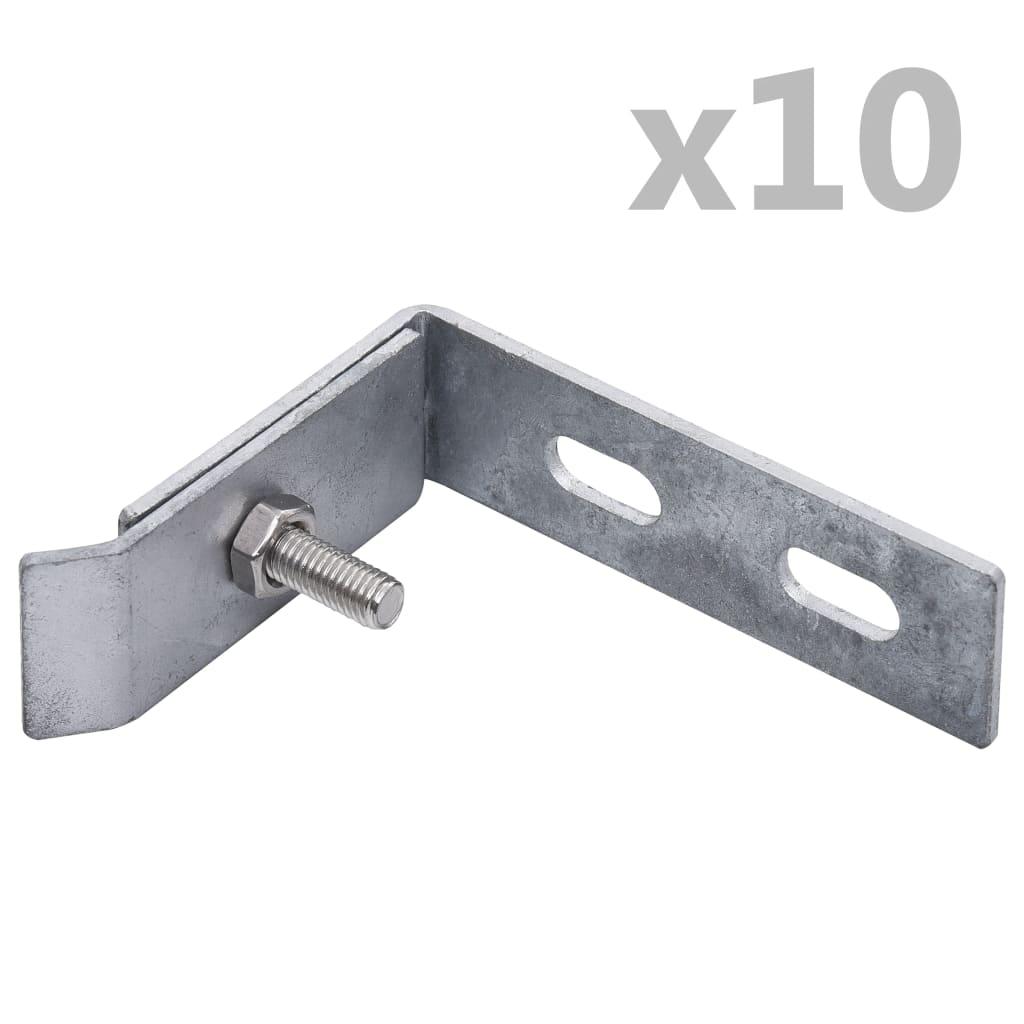 vidaXL Conector de colț de perete, 10 seturi, argintiu poza vidaxl.ro