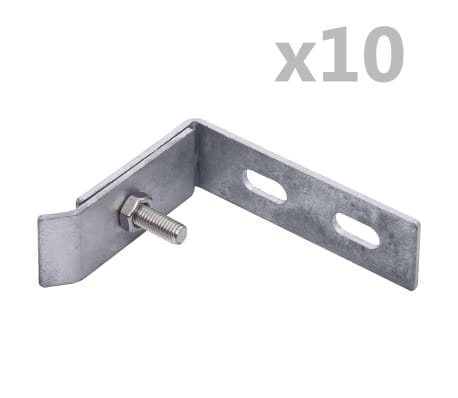 vidaXL Wall Corner Connector 10 Sets Silver