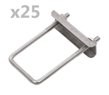 vidaXL U-veida skavas žoga stabiem, 60x40 mm, 25 komplekti