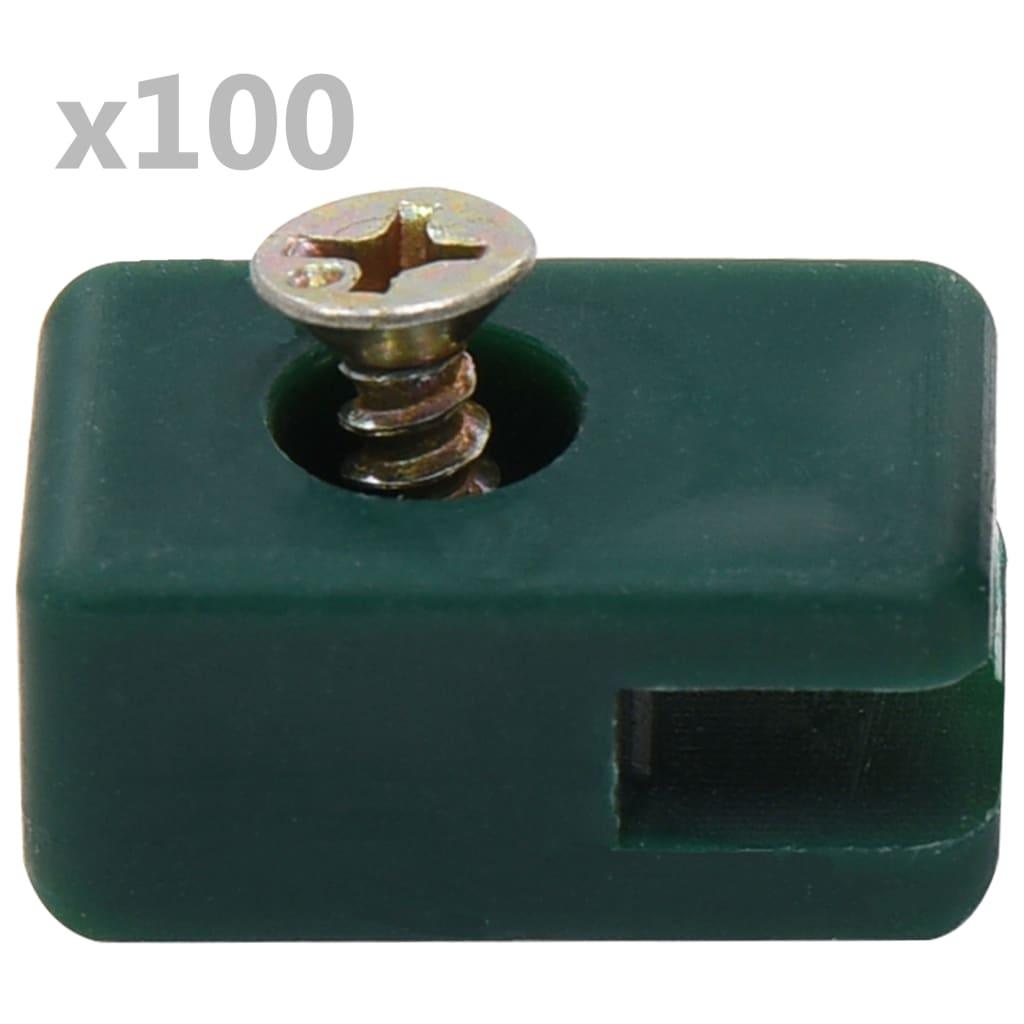 vidaXL Suport de sârmă gard de grădină cu șurub, verde, 100 seturi poza vidaxl.ro