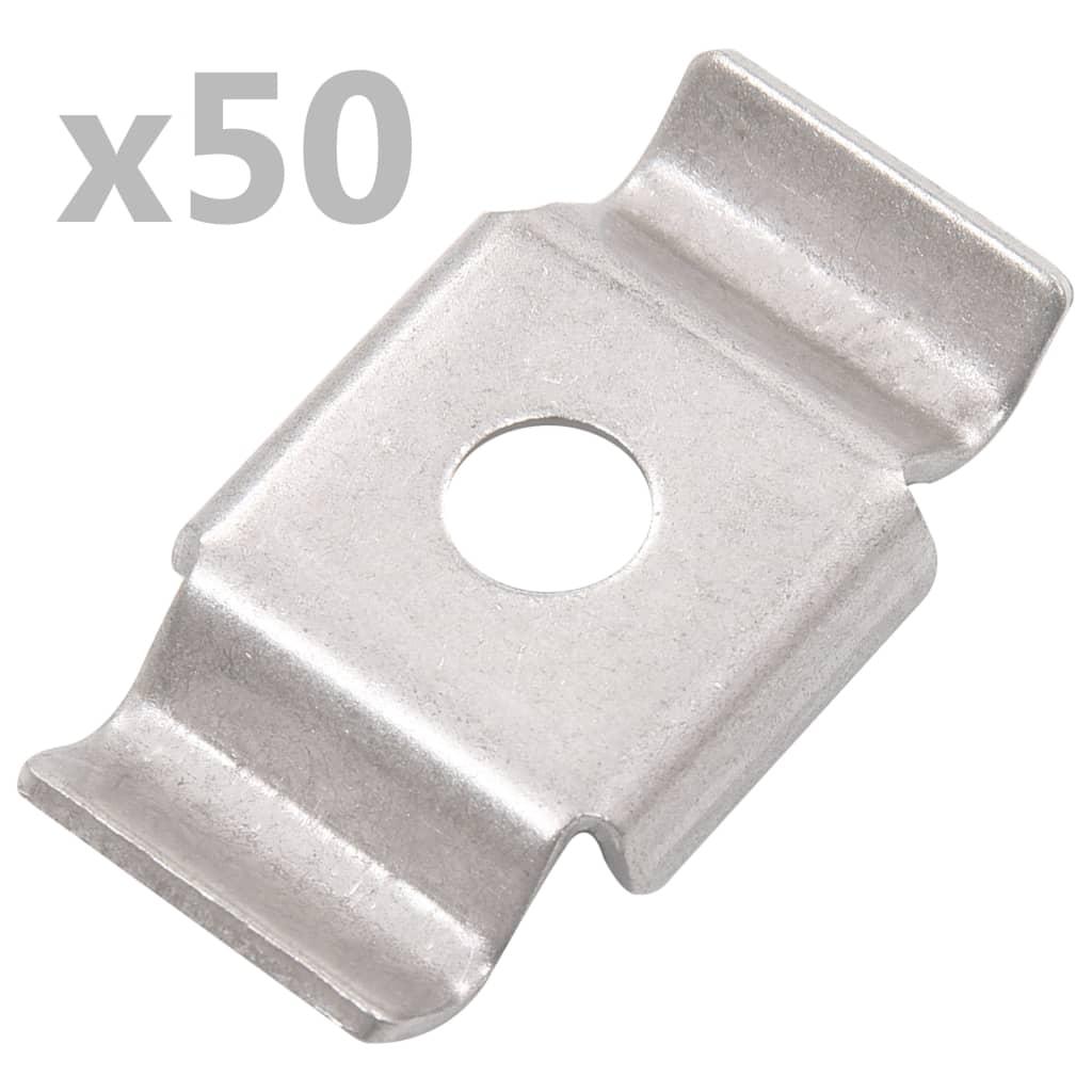 vidaXL Cleme de gard tip fluture, 50 buc., oțel inoxidabil poza vidaxl.ro