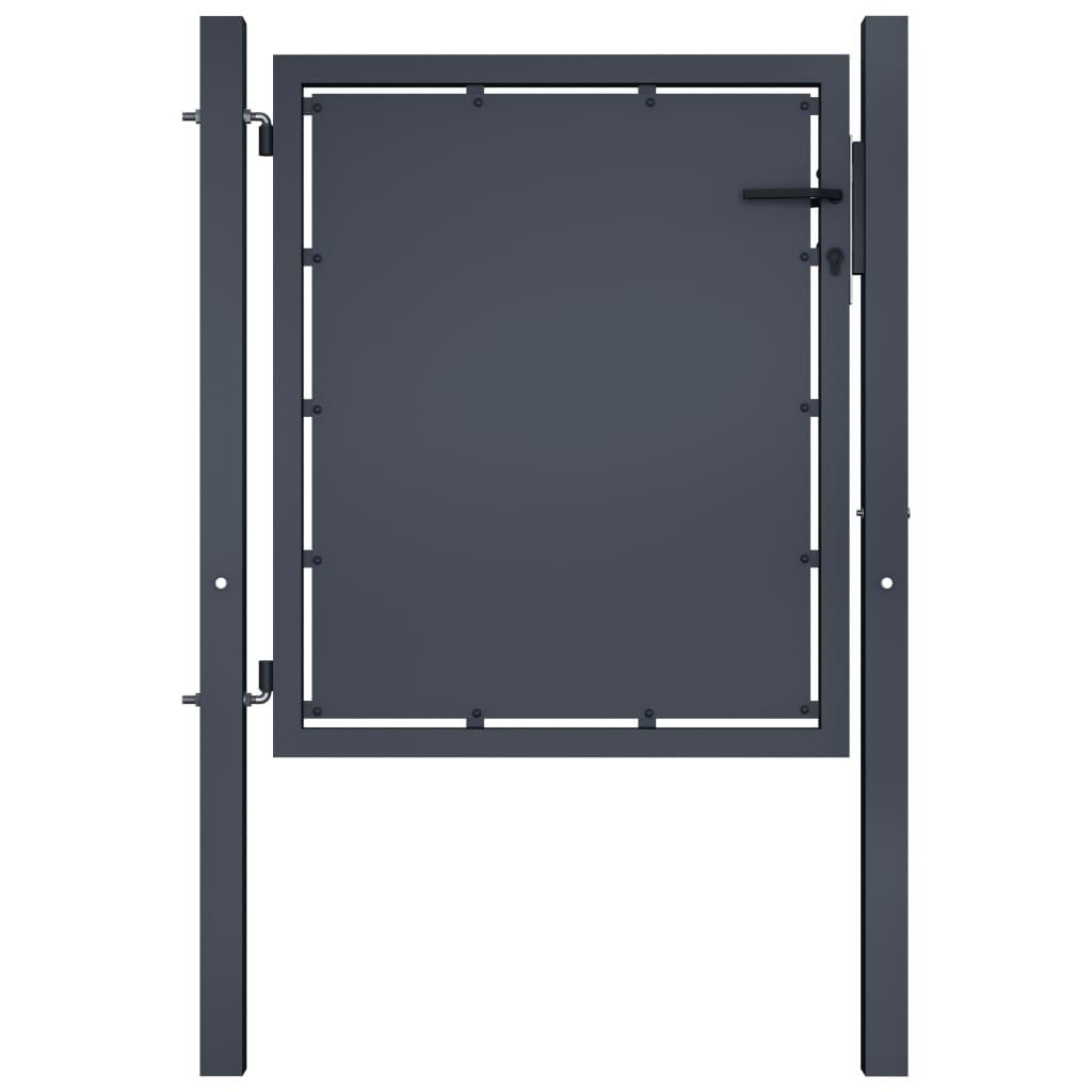 vidaXL Poartă de grădină, antracit, 100 x 75 cm, oțel vidaxl.ro
