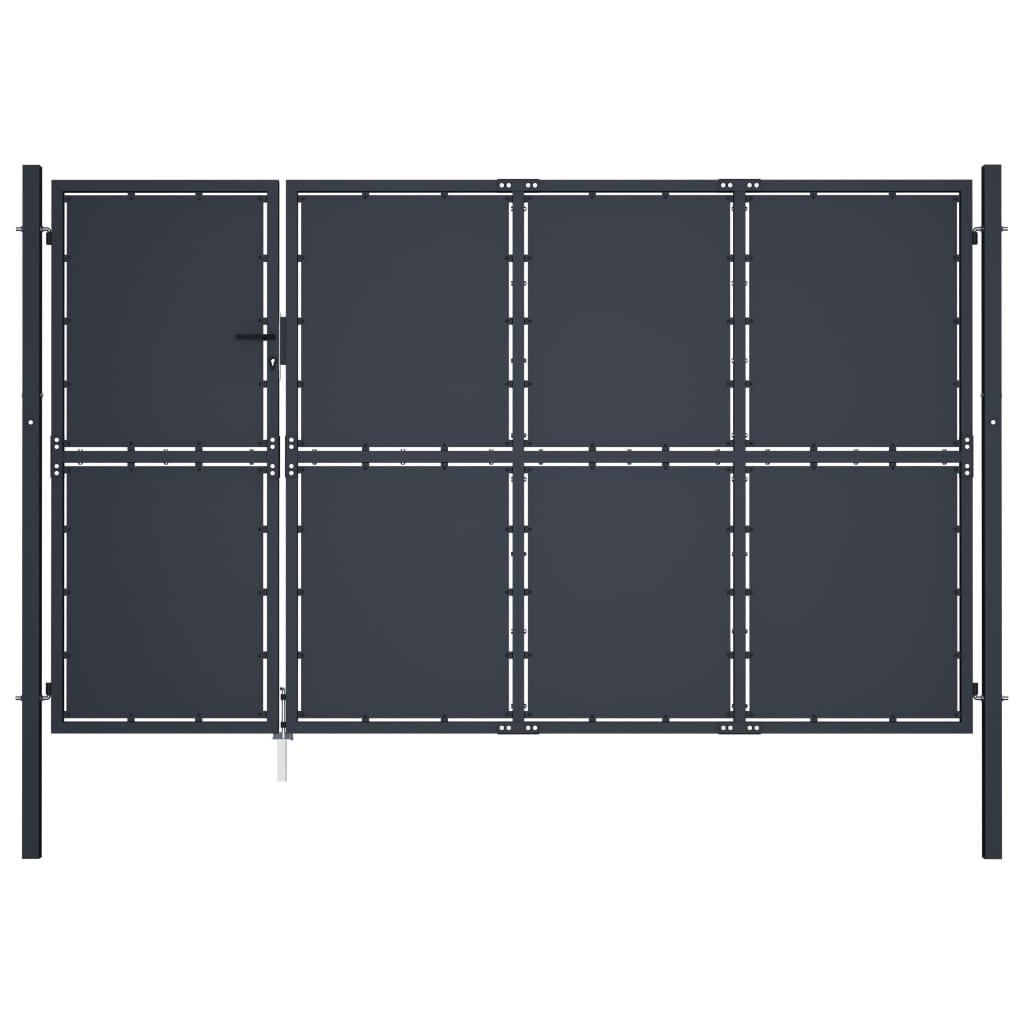 vidaXL Poartă de grădină, antracit, 350 x 200 cm, oțel vidaxl.ro