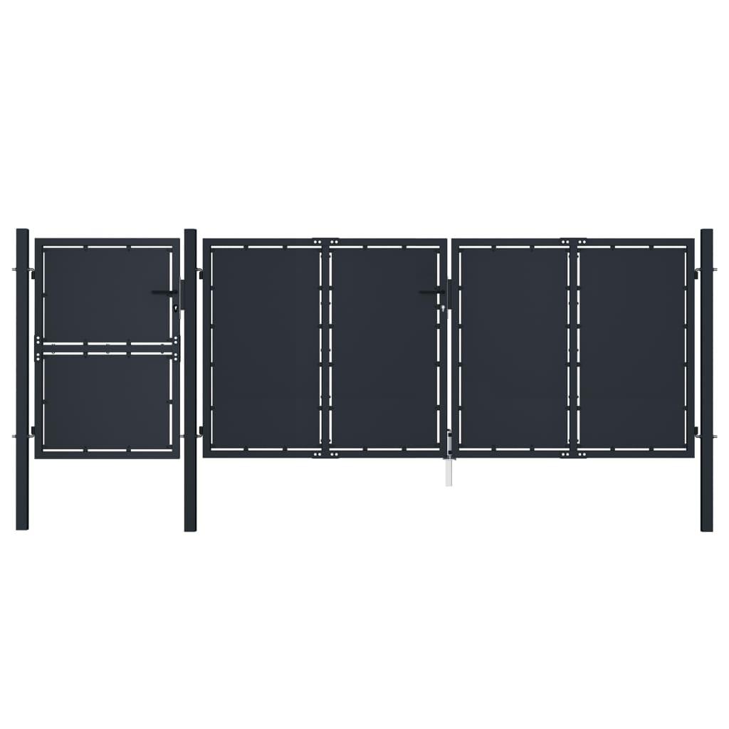 vidaXL Poartă de grădină, antracit, 4 x 1,75 m, metal vidaxl.ro
