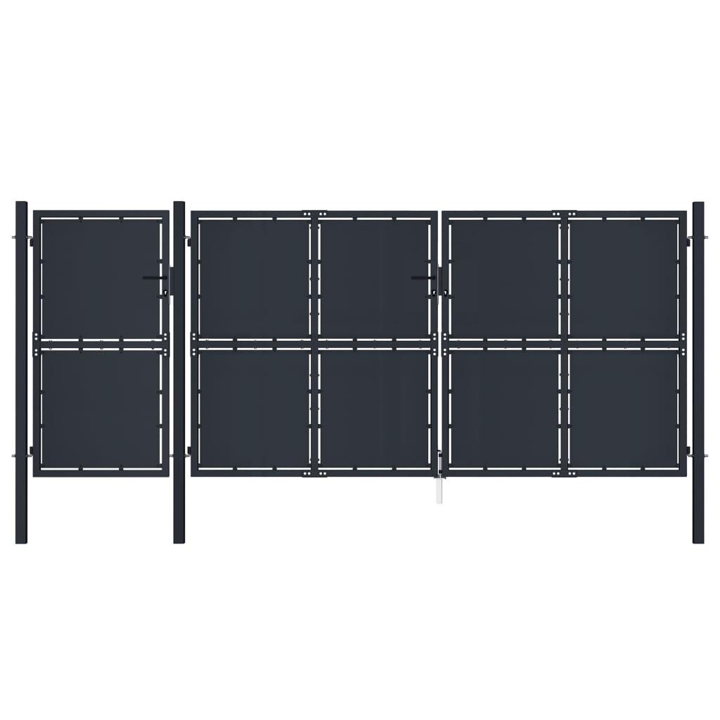 vidaXL Poartă de grădină, antracit, 4 x 2,25 m, metal poza 2021 vidaXL