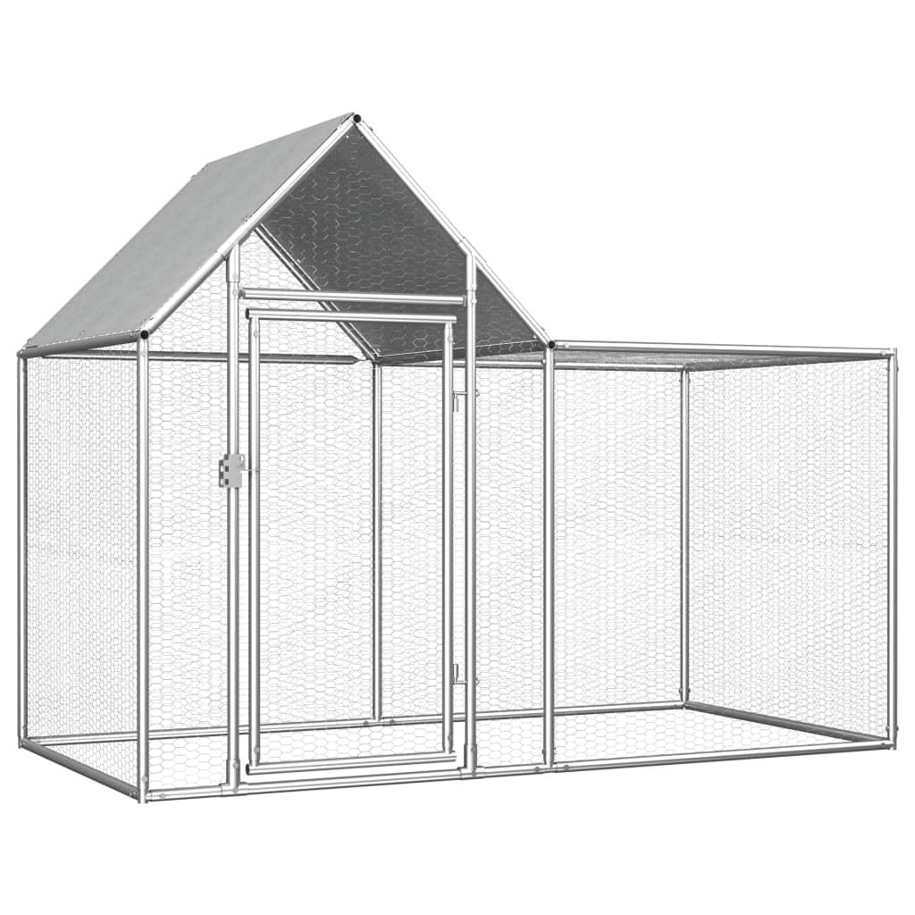 vidaXL Coteț de găini, 2 x 1 x 1,5 m, oțel galvanizat vidaxl.ro