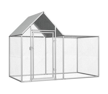 vidaXL Chicken Coop 2x1x1.5 m Galvanised Steel