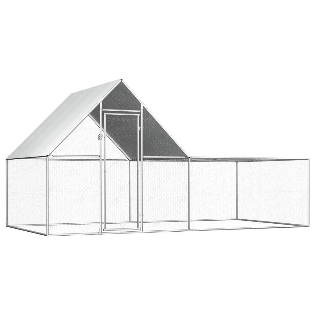 vidaXL Coteț de găini, 4 x 2 x 2 m, oțel galvanizat vidaxl.ro