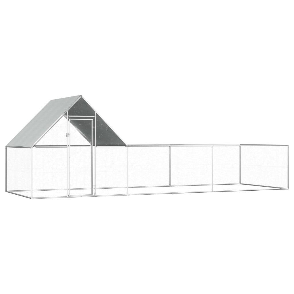 vidaXL Coteț de găini, 6 x 2 x 2 m, oțel galvanizat vidaxl.ro