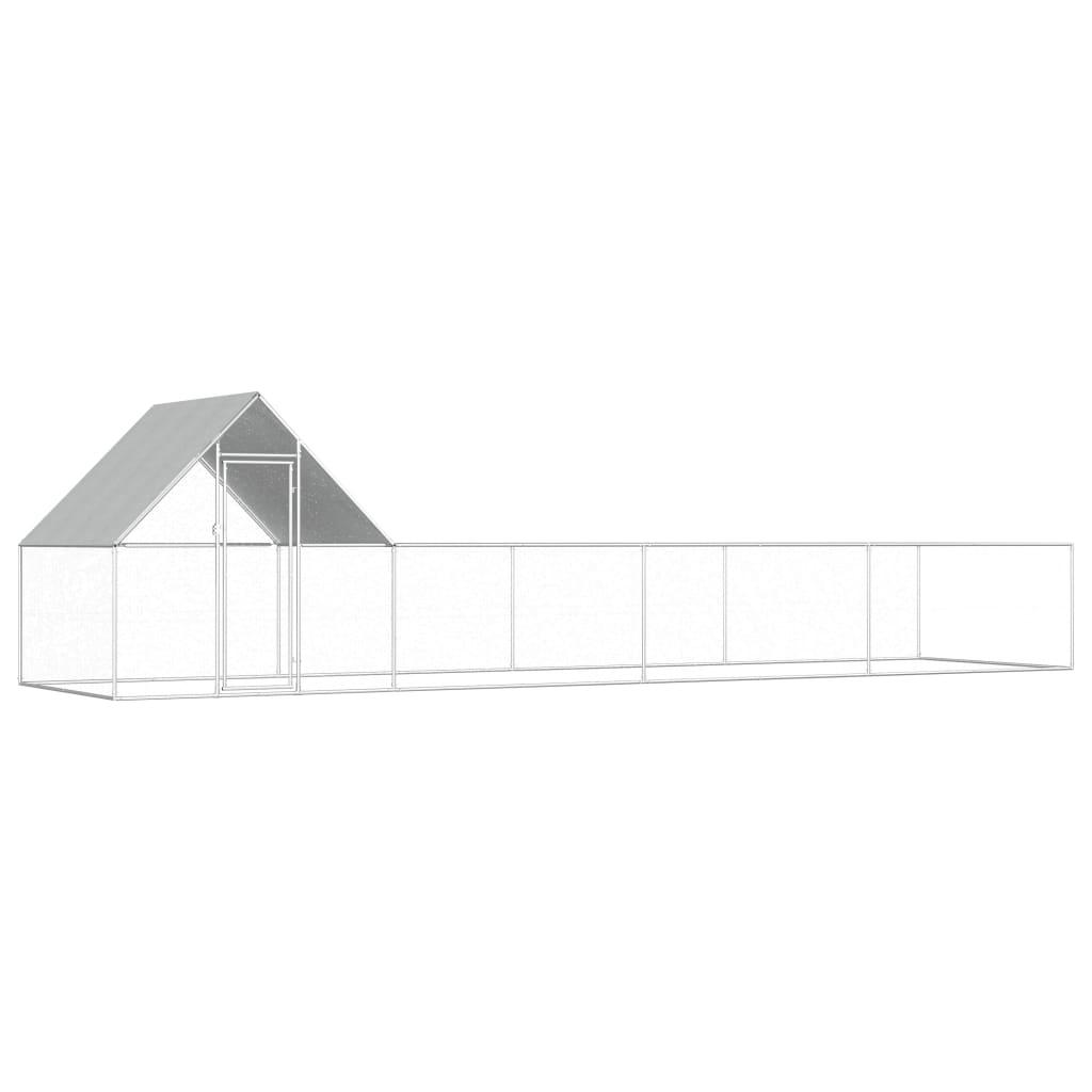 vidaXL Coteț de găini, 8 x 2 x 2 m, oțel galvanizat vidaxl.ro
