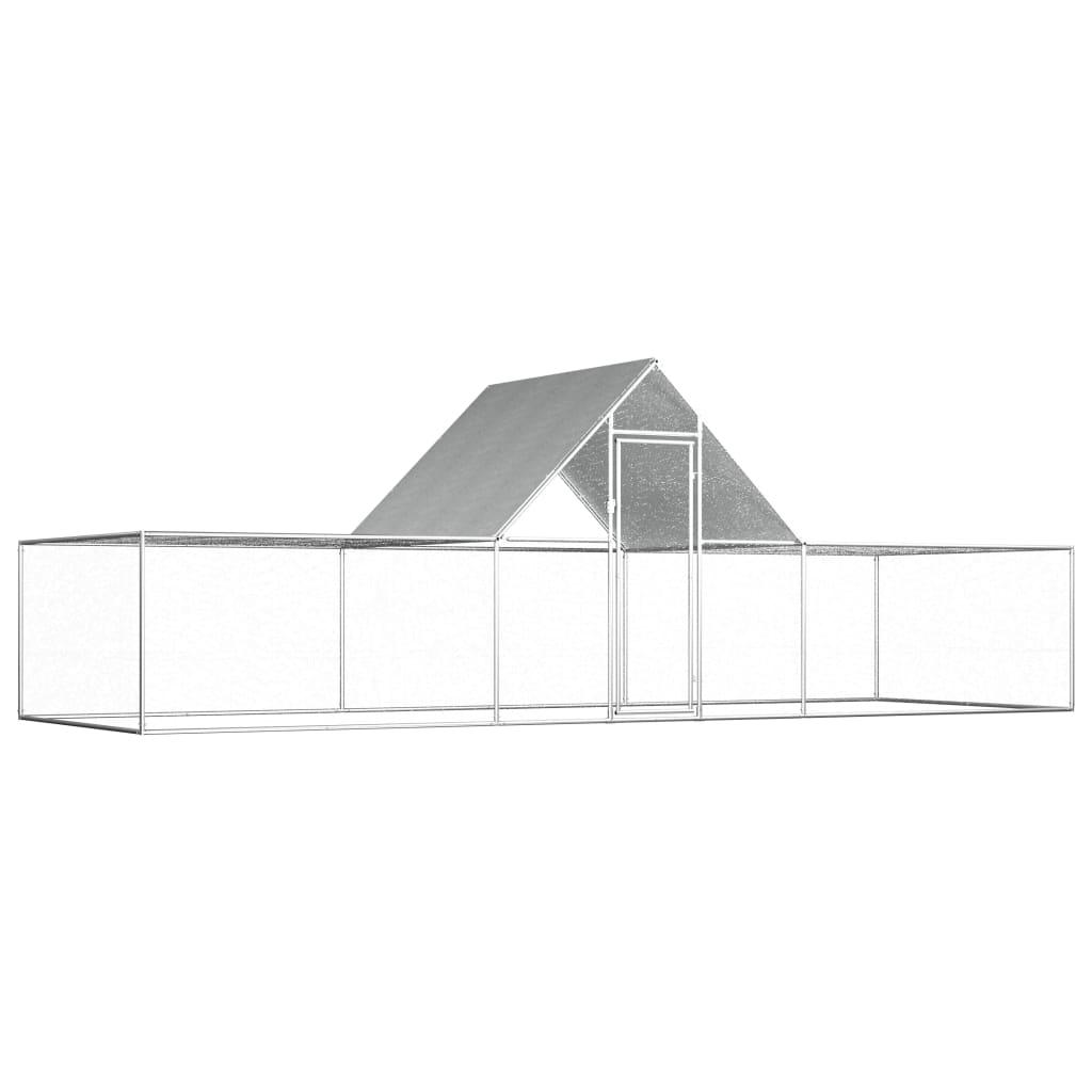 vidaXL Coteț de găini, 6 x 2 x 2 m, oțel galvanizat poza 2021 vidaXL