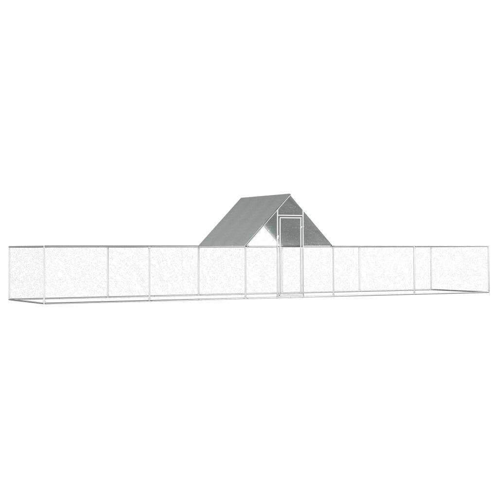 vidaXL Coteț de găini, 10 x 2 x 2 m, oțel galvanizat poza vidaxl.ro