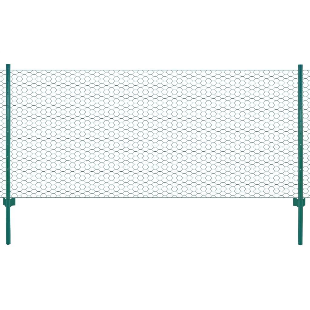 vidaXL Gard din plasă de sârmă cu stâlpi, verde, 25 x 0,75 m, oțel poza vidaxl.ro