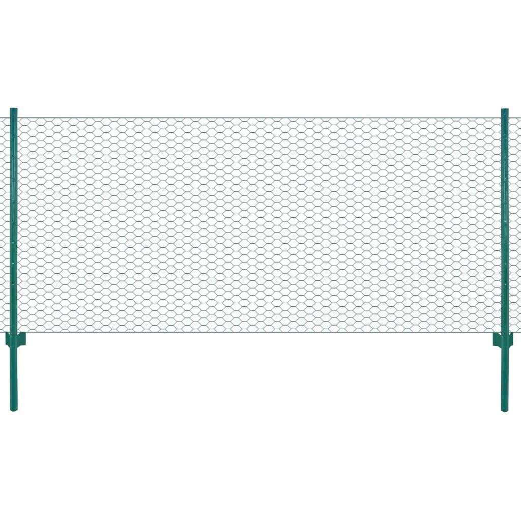 Draadgaashek met palen 25x1 m staal groen