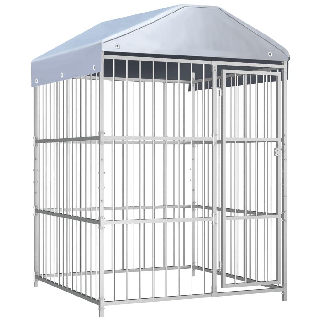 vidaXL Padoc de exterior cu acoperiș pentru câini, 150x150x200 cm poza 2021 vidaXL