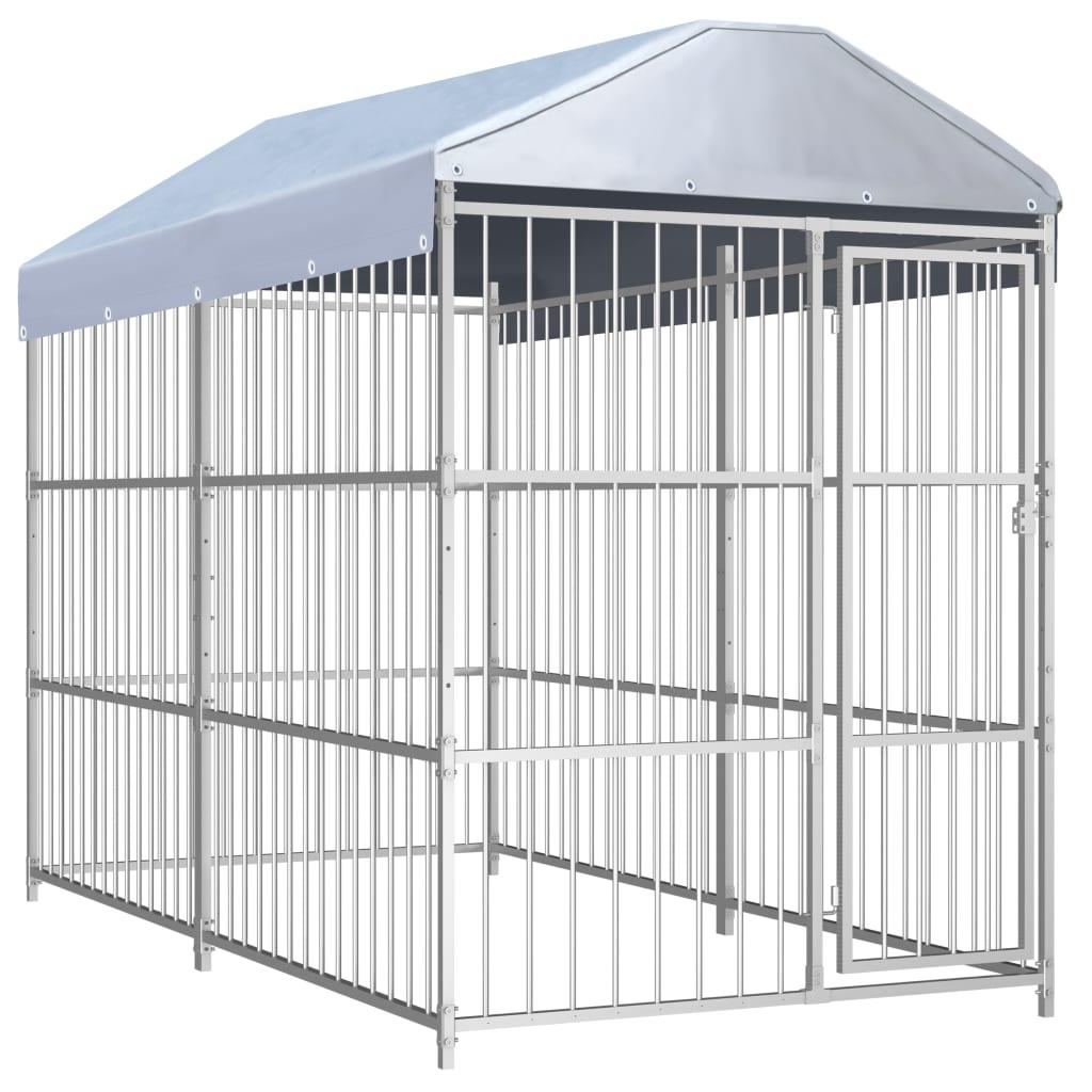 vidaXL Padoc pentru câini de exterior, cu acoperiș, 300x150x200 cm vidaxl.ro