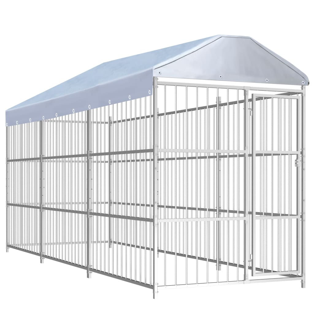 vidaXL Padoc pentru câini de exterior, cu acoperiș, 450x150x200 cm imagine vidaxl.ro